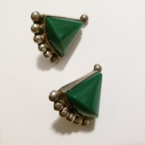 1940's Vintage Mexican earrings - Green stone